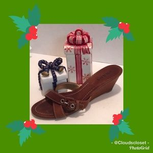 PRADA Brown LEATHER Criss CROSS STRAP WEDGE SANDAL